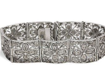 Silver Art Nouveau Filigree Bracelet Antique Jewelry