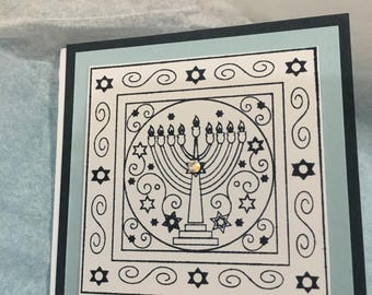 Menorah Mini cards w/ envelopes, gift enclosure cards, gift tags, thank you notes, Hannakah, blank note cards, Chanukah, set of 5 new