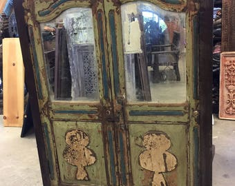 Antique Cabinet Chest Jaipur Distressed Green Mirror Eclectic Furniture Armoire with drawers, NEW Shipment, FREE SHIP