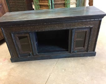 Antique Media Console Sideboards TV Chest Dark Brown Teal Patina, Brass Iron Embellished Rustic LUXE DecOR