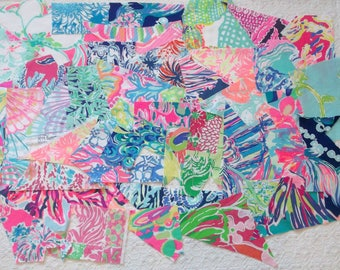 Preppy Colorful Lilly Pulitzer Fabric Scraps 40pcs