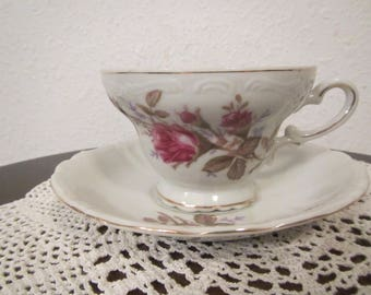 Japan Tea Cup and Saucer , Rose Pattern ( C-8 )