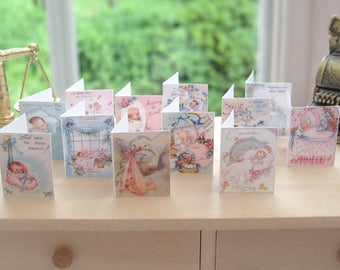 dollhouse baby cards x 12  shop display nursery baby shower 12th scale miniature set 2