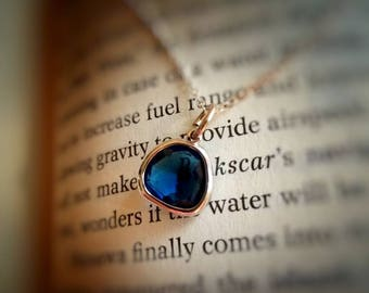 Montana Blue faceted glass Sterling silver necklace