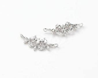 3505012 / Laurel Leaves / Rhodium Plated Brass with CZ Connector 19.4mm x 8.2mm / 0.5g / 2pcs