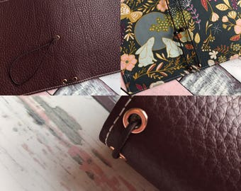 Leather Travelers Notebook - A6 - Fabric lined