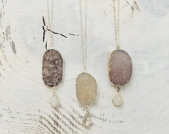 Long DRUZY Necklace- Druzy Necklace