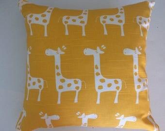 Nursery Pillow Cover, 16''x16'' Giraffes Pillow Cover, Yellow/White Giraffes Pillow Cover