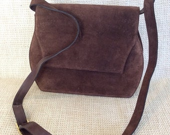 15% SUMMER SALE Vintage Salvatore Ferragamo brown suede leather shoulder bag and clutch
