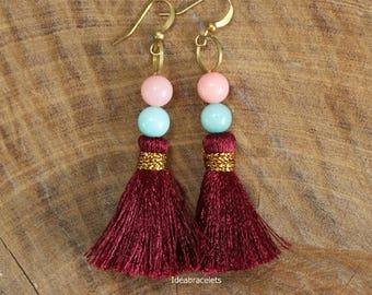 Boho Beads Tussel Dangle Earrings, Boho Drop Earrings, Cute Earring, Girl Jewelry, Gift For Girl, Brass Earrings, Bridesmaid Gift - Red