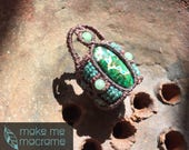 Macrame ring, Chrysocolla, Azurite,Free Worldwide Shipping