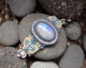 Moonstone Macrame Bracelet in gentle colors. Yoga jewelry. Sacral chakra, third-eye, crown chakra. Cancer, Libra, Scorpio