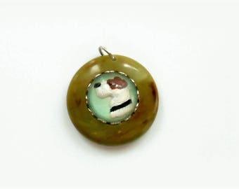 Vintage Marbled Army Green Brown Bakelite Fox or Wire Terrier DOG Intaglio Charm