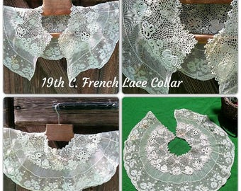 Victorian Floral Tulle Lace Collar Capelet Antique White French Cotton Lace Shoulder Cover Museum Quality Collectible #sophieladydeparis