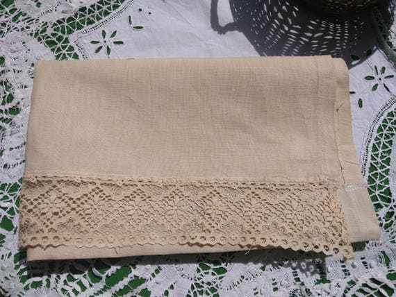 Victorian Beige Linen Curtain Lace Trimmed French Valance Panel Kitchen Curtain #sophieladydeparis