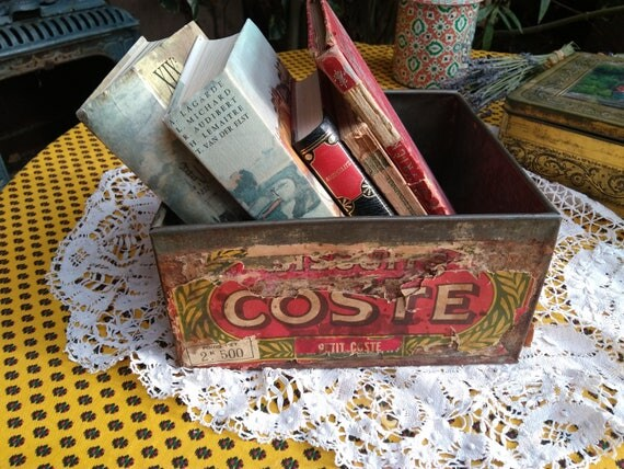 Antique French Biscuit Coste Box 1920's Paper Ad Toleware Box Home Decor Storage Collectible #sophieladydeparis