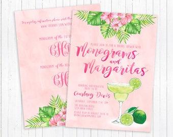 Monograms and Margaritas Bridal Shower Invitation