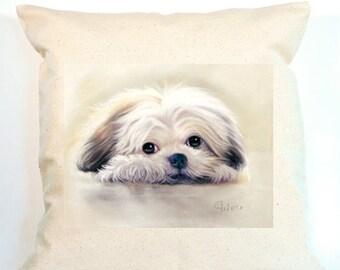 Shih Tzu Pillow, Shih Tzu Decorative Pillow, Personalized Canvas Pillow