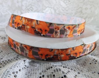 Fox ribbon Fox grosgrain ribbon 5/8  red fox printed ribbon