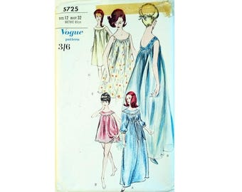 """Vintage 60's Vogue 5725 Nightgown, Negligee, Nightdress, Baby Doll Nightie and Knickers Panties Sewing Pattern 3 lengths Size Bust 32"""""""