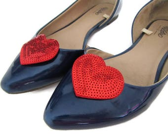 Red Heart Shoe Clips, Red Glitter Hearts, I Heart Shoes, Love Shoe Clips, Heart Shoe Buttons, Red Sequin Shoe Bling, Sequin Heart Shoes