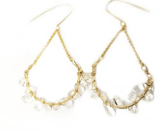 Clear quartz chandelier earrings // Gold filled chandelier earrings // Great gift idea
