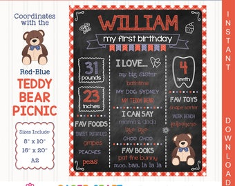 Teddy Bear (Red-Blue) Printable Chalkboard Sign | 1st 2nd 3rd Birthday | Personalized Poster | Instant Download & Edit in Adobe Reader