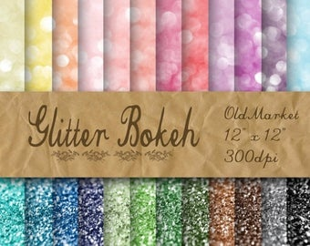 SALE- Glitter Bokeh Digital Paper - Glitter Textures - Glitter Backgrounds -  24 Colors - 12in x 12in - Commercial Use -  INSTANT  DOWNLOAD