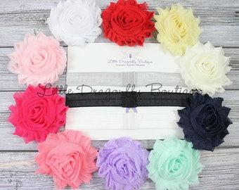 Solid headband set {Shabby interchangeable headband set, mix and match headband set, shabby chic flowers, baby gift set, starter set}