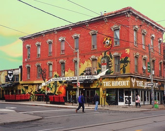 Toronto Street Life Photography - Wall Decor - Art Photography Print - Canada, Red, Brick Building, Architecture, The Hideout, Indie Bar
