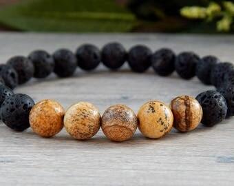 Mens Bracelet, Lava Bracelet, Black Jewelry, Black Bead Bracelet, Bead Bracelet, Mens Jewelry, Bracelet for Men, Fathers Day Gift, Mens Gift