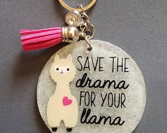 Save The Drama For Your Llama Acrylic Keychain, Acrylic Keychain, Keychain, Drama Llama, Llama Drama, Drama Queen, Keychain, Funny Keychain