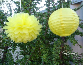 Yellow Tissue Paper Pom Pom & Lanterns - Wedding Baby Shower Engagement Birthday Party Baptism Nursery Home Housewarming Decor