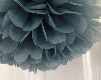 6x Charcoal Grey Tissue Pom Poms Wedding Graduation Anniversary Baptism 40th 50th 60th Birthday Decorations