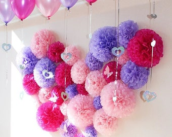 33x Lilac Pink Fairy Theme Tissue Paper Pom Poms Girl's Birthday Party Sweets Bar Backdrops Photography Wall Decoration