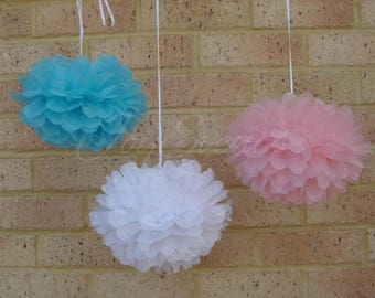 18x Mixed Size Blue Pink White Tissue Paper Pom Poms Gender Reveal Baby Shower Nursery Birthday Party Decoration