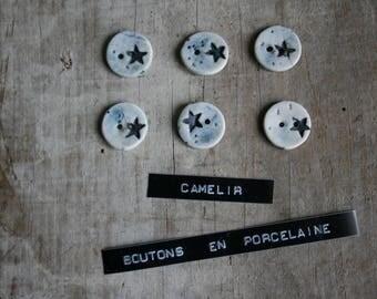 # 006 set of 6 mini porcelain buttons