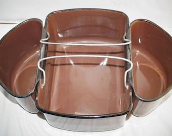 Vintage Brown Enamel Graniteware Enamelware Pail Garden Lunch Cleaning Organiing 3 Compartments
