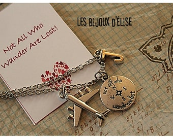 Not all who wander are lost Charms Necklace For Her Necklace Airplane Necklace Distance Relationship (CO80)