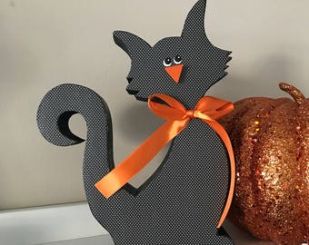 Halloween Cat, Wooden Decoration