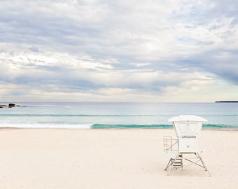 Coastal decor, Beach Print, Pastel Beach Photography, Lifeguard tower, Bondi beach Photography, Ocean Photography, Hampton Style photo