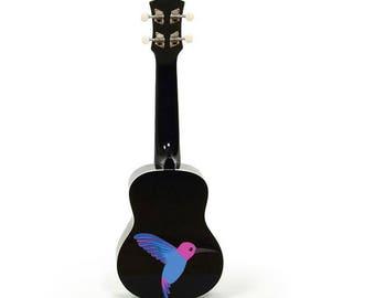 Custom Painted Humming Bird Ukulele, Soprano Ukulele, Black Ukulele, Custom Painted Ukulele, ukelele