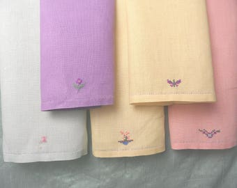 Five complementary pastel linen hand towels /embroidered cross stitch guest hand towel