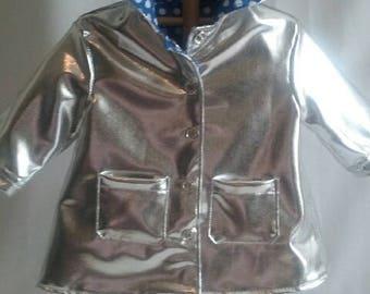 Dolls silver hooded raincoat