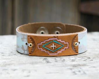 Distressed Leather On Leather Bracelet . Boho. South Western Design. Cowgirl . Bracelet. Boho . By Nin and Bumm