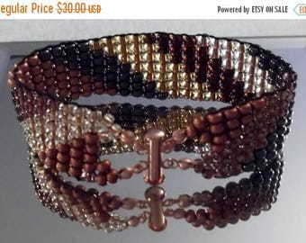 CLEARANCE Copper and Hematite Twist 7-1/2-inch/19 cm Woven Beads Bracelet