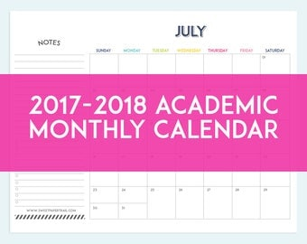 2017 - 2018 Academic Monthly Calendar - INSTANT DOWNLOAD