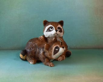 Vintage Homco Pair of Playful Raccoons Figurines Shabby Chic Shelf Sitter