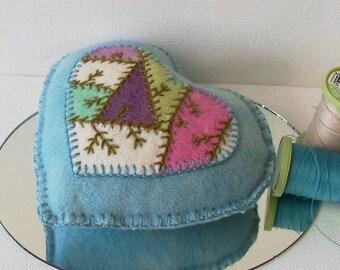 Handmade Pincushion Felted Wool Crazy Patch Heart on a Blue Heart Pincushion