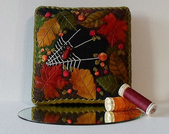 Handmade Spider Web Autumn Leaves and Roses Crazy Patch Needle Cushion